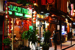 Latin Quarter of Paris by night Stock Photo
