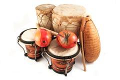 Latin rhythm instruments. Latin rhythm percussion instruments like  on a white background Royalty Free Stock Photography