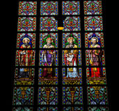 Latin Saints. Stained Glass Window in Den Bosch Cathedral, North Brabant Royalty Free Stock Image