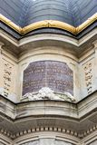Latin Scripture on Church Wall Stock Photo