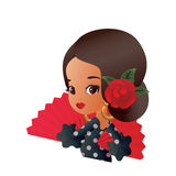 Latin Spanish Cute chibi cartoon girl Stock Photo