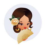 Latin Spanish Cute chibi cartoon girl Royalty Free Stock Photo