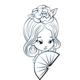 Latin Spanish Cute chibi cartoon girl Stock Image