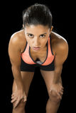 Latin sport woman posing in fierce and badass face expression with fit slim body Royalty Free Stock Images