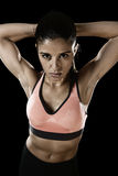 Latin sport woman posing in fierce and badass face expression w Royalty Free Stock Images