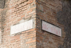 Latin Street Signs in Pompeii Royalty Free Stock Photography