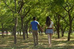 Latin teen couple with emotions, outdoors Royalty Free Stock Photos