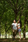 Latin teen couple with emotions, outdoors Royalty Free Stock Images