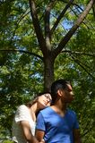 Latin teen couple with emotions, outdoors Stock Photos