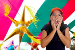 Latin teen hispanic girl surprise gesture Stock Photos