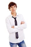 Latin teenager with crossed arms. Confident young man in white shirt with black tie and crossed arms on chest. Isolated on white background, mask included Royalty Free Stock Images
