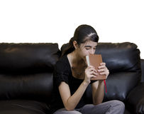 Latin Teenager Girl Having a Daily Devotional Royalty Free Stock Photos