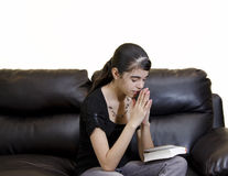Latin Teenager Girl Having a Daily Devotional Stock Photos