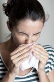Latin woman being sick Royalty Free Stock Image