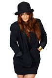 Latin woman in black jacket and hat. Stock Photo