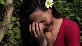 Latin Woman Crying in Nature stock video footage
