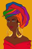 Latin woman. Cuban girl with colorful turban and big golden earrings. South american female. Vector illustration Royalty Free Stock Photos