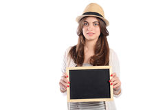 Latin woman holding chalkboard. Portrait of latin woman holding chalkboard. Isolated white background Stock Images