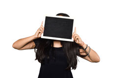 Latin woman holding chalkboard. Portrait of latin woman holding chalkboard. Isolated white background Royalty Free Stock Photo