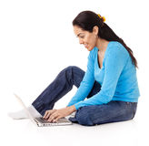 Latin Woman with Laptop Stock Photography