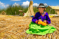Latin woman in national clothes. Peru. s. america Stock Images