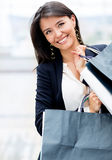 Latin woman shopping Stock Images