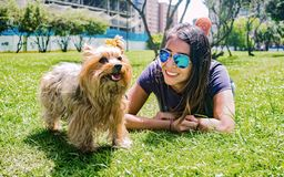 Latin woman with her faithful canine friend Yorkshire Terrier. Latin woman with sunglasses enjoying a quiet afternoon in the park with her faithful canine friend stock image