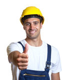Latin worker showing thumb up Royalty Free Stock Photos