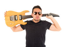 Latin young musician with electric guitar Stock Images