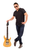 Latin young musician with electric guitar Stock Image
