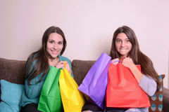 Latin young woman holding shopping bags Royalty Free Stock Images