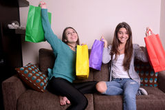 Latin young woman holding shopping bags Stock Image
