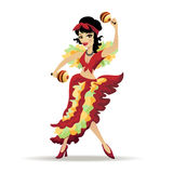 Latina beautiful girl dancing with maracas Stock Images