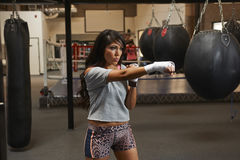 Latina Beauty Boxing Stock Photo
