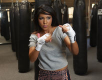 Latina Beauty Boxing Stock Photography