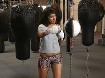 Latina Beauty Boxing Royalty Free Stock Images