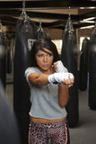 Latina Beauty Boxing Stock Image