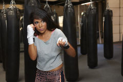 Latina Beauty Boxing Stock Images