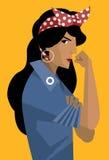 Latina feminist woman. Feminist latina girl holding her arm Royalty Free Stock Photo