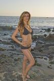 Latina-Frau im schwarzen Bikini am Strand Stockbild