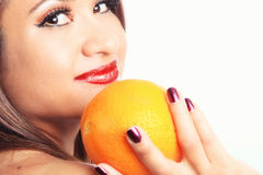 Latina Girl and Orange Stock Image