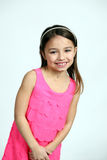 Latina girl in pink dress Royalty Free Stock Images