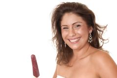 Latina Girl With Popsicle Stock Image