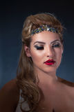 Latina Girl in Sparkling Headband and Bright Red Lipstick Stock Photos