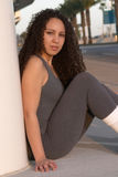 Latina in Gray Workout Tights. Young Latina in Gray Workout Tights Royalty Free Stock Images