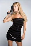 Latina Gun Woman Royalty Free Stock Images