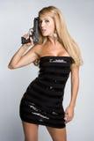 Latina Gun Woman. Beautiful latina gun woman royalty free stock images