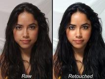 Latina hermosa, sin procesar contra retocado Foto de archivo libre de regalías