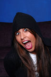 Latina In Hoodie Screaming Stock Images