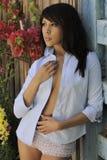 Latina Model Garden Wall Royalty Free Stock Photos
